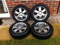 4 x 15 inch Toyota alloy wheels with good condition tyres