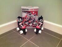 Adjustable Quad Roller Skates Size UK Junior 11-13 / EUR 29-32 Red/Black