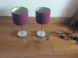 Chrome lamps with purple shades