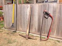 3ft pick axe + spear & Jackson bow saw + spring rake