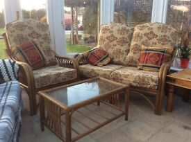 Cane sofa with matching chair and coffee table