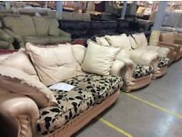 Cream leather 3 seater & 2 chairs