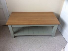 Green/Grey Colour Coffee Table with solid Oak Top