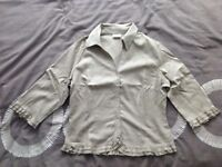 Ladies 3/4 Length Sleeve Beige Summer Shirt Size 44