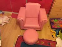 Girls pink chair and foot stall