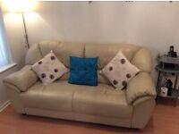 Cream Leather sofas, 2 seater & 3 seater