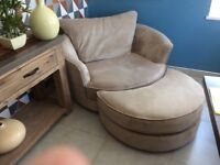 large cuddle chair and stool