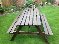 6 seater garden bench table