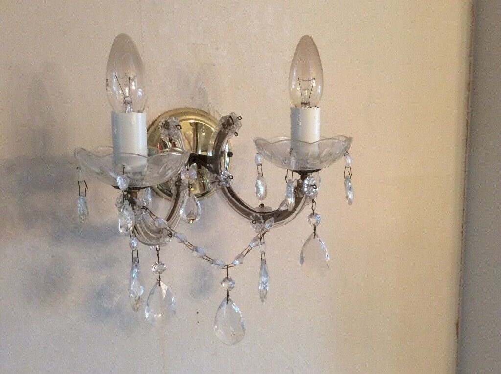 Pair of Besutiful Stylish 2 Light Chandelier Wall Lights