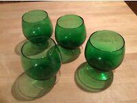 Green murano brandy glasses (genuine vintage)
