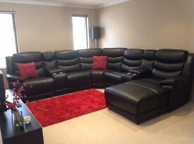 100% huge black leather recliner/chaise cinema corner sofa
