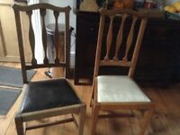 2 tall-backed dining chairs, waxed oak, simple and elegant design
