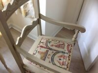 ANTIQUE BEAUTIFUL COMMODE CHAIR ,WITH ITS ORIGINAL WHITE CHINA POTTY ,