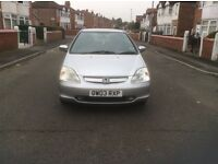 Honda Civic 1.6 SE V-TEC 3dr hatchback petrol manual 2003 low mileage full service history £750.