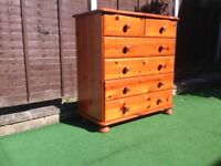 Pine chest of SIX drawers,**** RESVED FOR WED EVE****