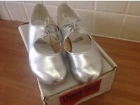 Silver tap shoes size 3