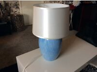 Blue Lamp Table with White Shade