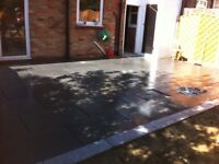 Granite paving slabs and edging grey/blue