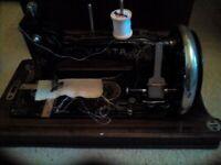 Vintage old Sewing machine with lid Jones hand crank