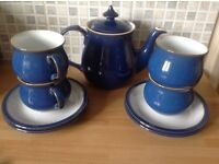 Denby Imperial Blue teapot, tea cups and saucers