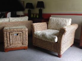 Wicker chair and matching glass topped table