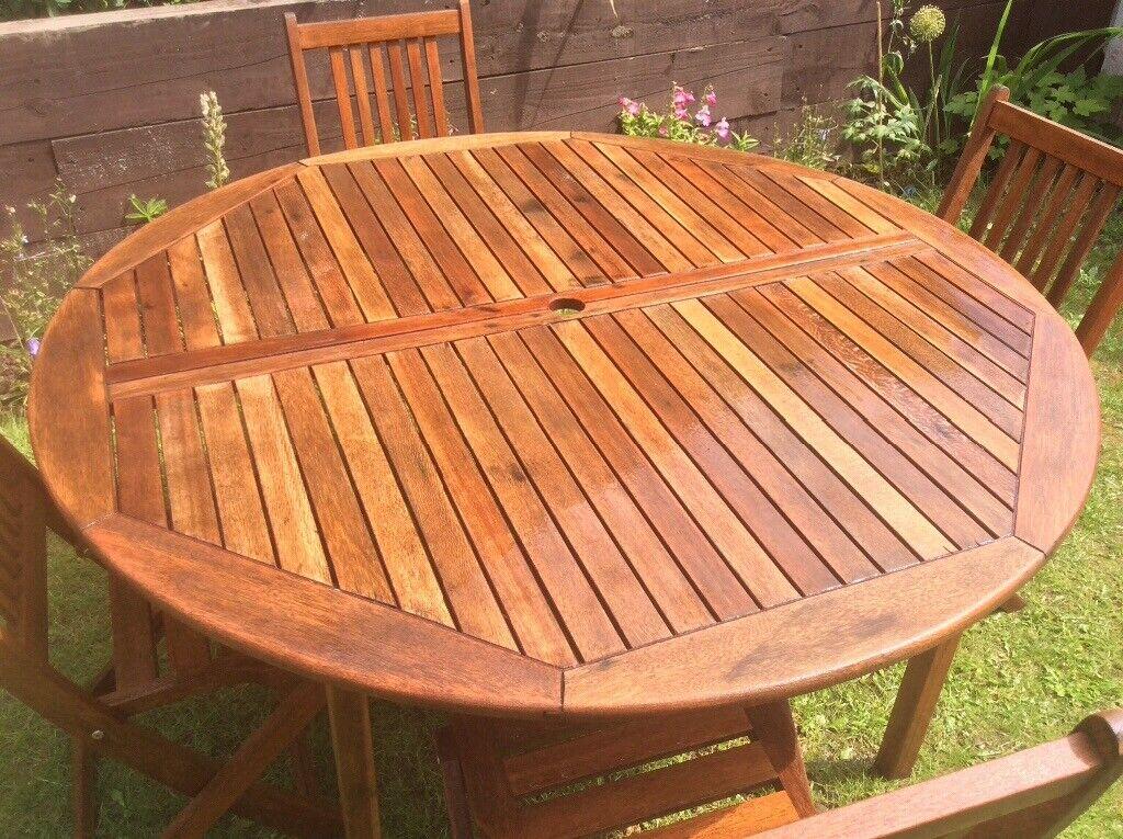 Appealing Good size Teak Round Wooden garden table & 4 ...