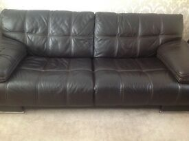 Leather sofa & 2chairs dark brown