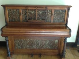 John Boraodwood and sons upright piano and stool. Attractive filigree design.