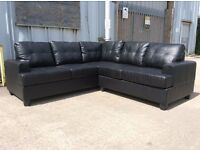 Black Leather Corner Sofa - £399 Including Free Local Delivery