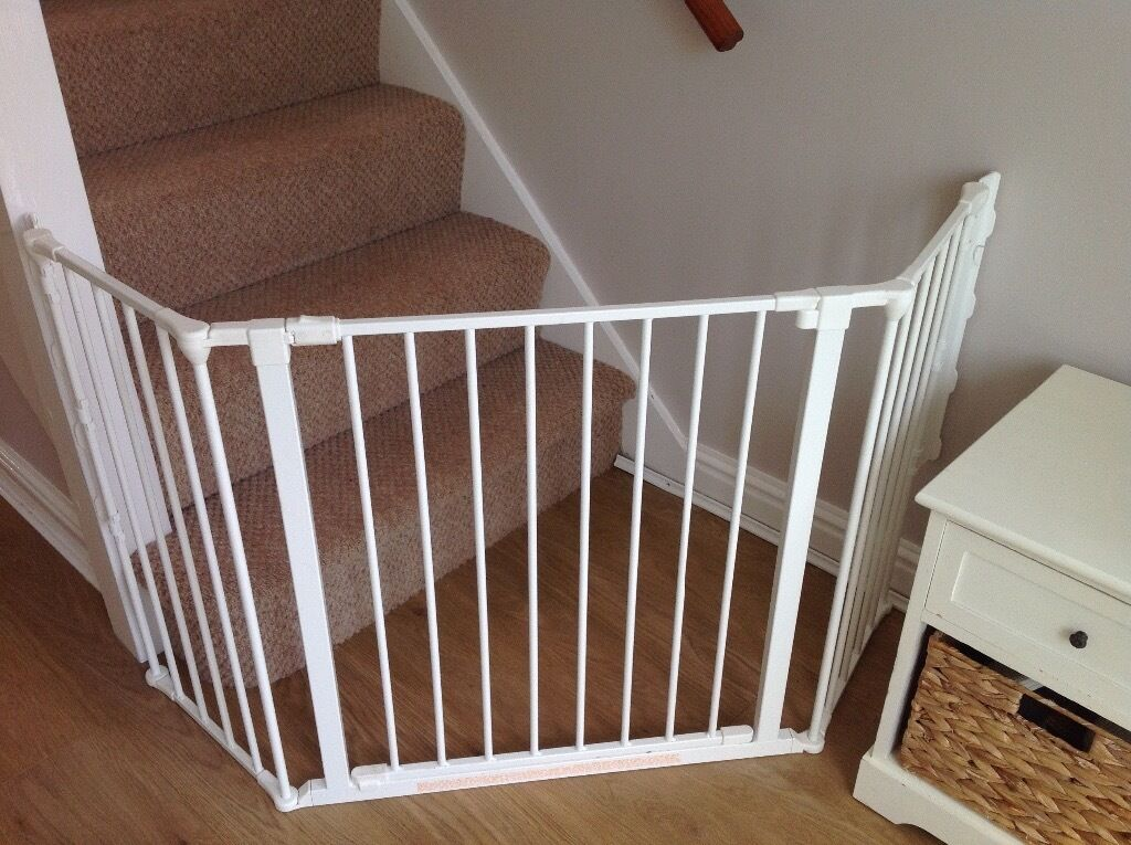 2 Stair Gates For Toddlers Safety Corner Gate White In