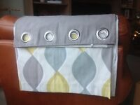 Curtains from Dunelm. Grey, yellow and light blue lined with eyelets.