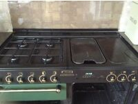Rangemaster 110 double oven with 5 hob and warmer plate., with hood.