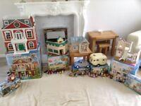 Sylvanian Families Large Bundle inc Hotel, Salon, School, House, Caravan, Car Motorcyle & figures