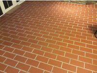 Brick colour clay floor tiles