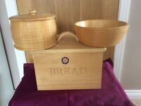 Bread bin biscuit barrel and fruit bowl