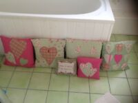 4 large cushions And 1 small cushion Clarke and Clarke handl made by interior designer