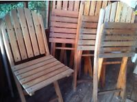 Hardwood bistro style folding chairs