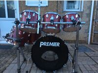 Premier Projector drum kit & drum Rack (7 drums)
