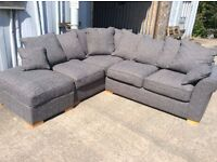 Charcoal Grey Corner Sofa with Footstool - New - £449 Including Free Local Delivery