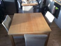 3ft x 3ft Solid extendable Table and chairs.