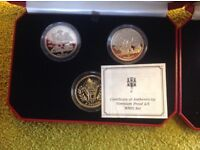 PROOF SET OF THREE COMMEMORATIVE WW2 FIVE POUND COINS MADE OF VIRENIUM