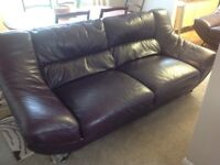 Leather 3 seater and single sofa