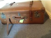 Large old leather suitcase