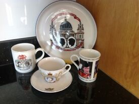 Royal commemorative China plate, mugs and cup and saucer