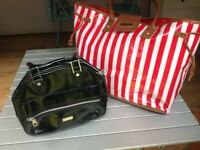 Fred Perry Black hand bag together with Red/White striped carry bag.