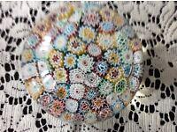 Venetian Murano Glass Paperweight Millefiori .