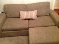 Next Sofa - 3 seater in textured weave/mink with footstool
