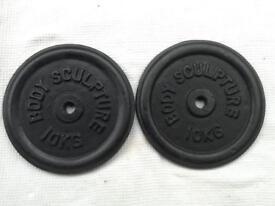6 x 10kg Bodysculpture Standard Cast Iron Weights