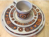 Dinner set plus mugs - Staffordshire Kiln Craft Pottery - excellent condition, vintage 1970s