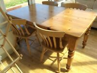 Solid pine country kitchen table and four chairs